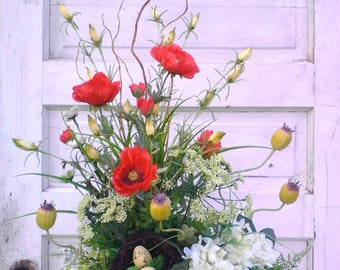 Beautiful Spring Summer Silk Floral Arrangement Centerpiece, Red Poppies, White Hydrangeas, Farmhouse Floral, Country Cottage Decor, Rustic