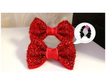 Red fancy bow, Girls twin bows, girls hair accessories, Girls Headband, Baby Bows