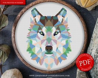 Polygonal Cross Stitch Pattern of Wolf for Instant Download *P254 | Geometric Cross Stitch| Easy Cross Stitch| Wolf Cross Stitch