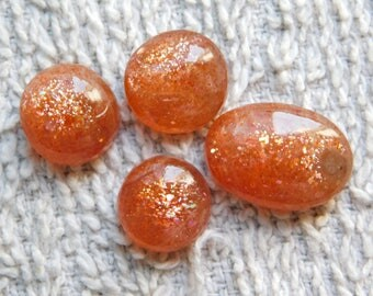 Lot ! Most Beautiful Sunstone Gemstone Top Quality handmade Excellent Cabochons 100%Natural Beautiful Loose stone 32.60cts, 4 Pieces.