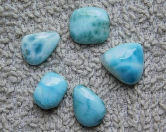 Lot ! Awesome Larimar loose gemstone Cabochons Very Gorgeous Designer Excellent Quality 100% Natural handmade Gemstone 32.50cts, 5 Pieces.