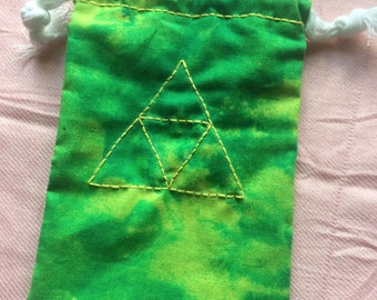 Legend of Zelda Triforce Yellow and Green Drawstring Tarot Deck Bag