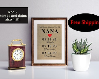 Personalized Nana Gift, Christmas Gift for Nana, My Greatest Blessings Call Me Nana, Grandchildren Name Wall Art, Nana Gift, Grandma Gift