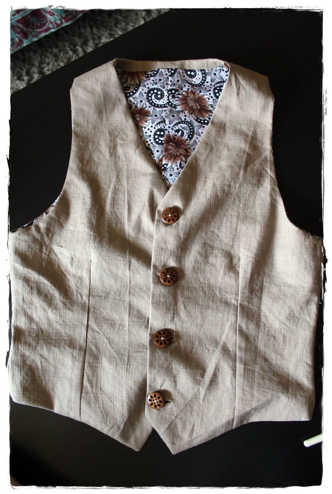 Costume homme en lin, le gilet - Mens costume in linen, waistcoat