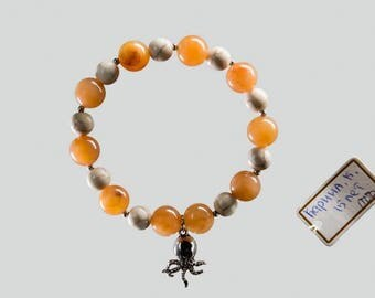 Sardonyx Bracelet with Octopus Charm, Octopus Bracelet, Orange Sardonyx, Octopus Jewelry Gift for Her, Charity Bracelet, Charity Donation