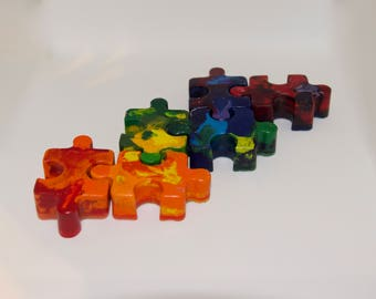 Premium Recycled Crayon Puzzle Pieces, premium, fun, Austism Awareness, party favor, gifts, coloring, crayola, upcycled, back to school
