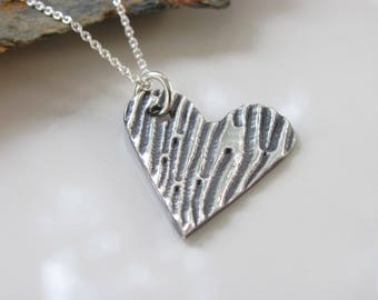 Heart Necklace - Silver Necklace - Heart Pendant - Fine Silver Necklace - Fine Silver Pendant - Woodgrain Heart - Ready to Ship