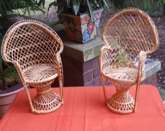 Mini Peacock Chairs as a set of 2 or individually. Rattan plant stand.