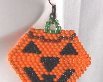 Pumpkin Earrings Jack-O-Lantern Halloween Beaded Jewelry