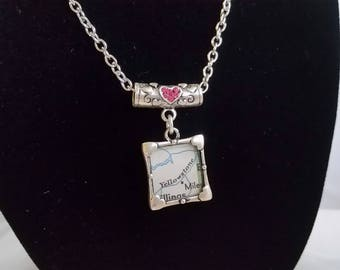 Vintage Map Necklace- Yellowstone