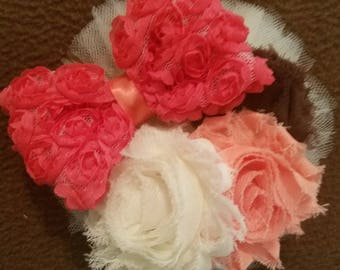 One of a kind...Coral, brown and ivory flowered hair piece.