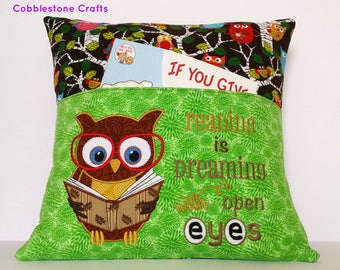 Owl Reading Pocket Pillow, Reading Pillow, Pocket Pillow, Reading is Dreaming with open eyes