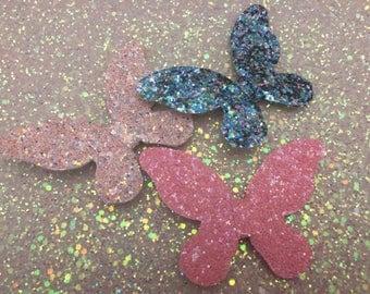 Chunky Glitter Butterfly Hair Clips