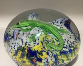 Glass Green Lizard Paperweight