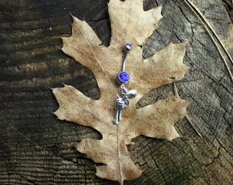 Pistol Gun Charm Navel Belly Button Ring - Bullet Jewelry - Gifts For Her