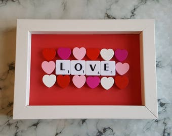 Love Scrabble Art Picture, Wooden Hearts, White Frame 6x4, Wall Art, Scrabble Tiles , Ready To Ship Valentines Gift