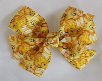 Simba Hair Bow - Disney hair bow, Girl hair bow, Hair bow for girl, Hair accessory, Hair clip for girl, Pigtail hair bow, Hair bow