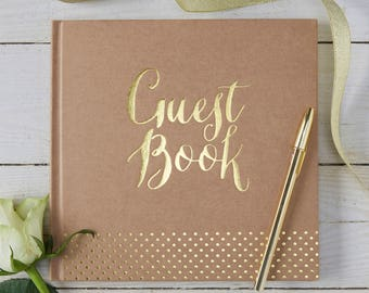 Gold Foiled Kraft Wedding Guestbook, Wedding Guest Book, Kraft Party Guest Book, Kraft & Gold Baby Shower Guest Book