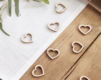 Wooden Heart Shaped Table Confetti, Wedding Heart Table Confetti, Rustic Wedding Decor, Wooden Wedding Decor