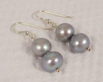 Silver Grey Pearl Earrings, Sterling Silver Baroque Pearl Drop Earrings, Real Freshwater Pearl Jewelry