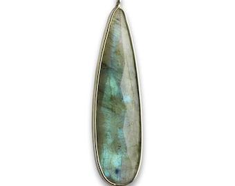 Labradorite Pear Shape 8X40 MM Silver 925 Bezel Pendant