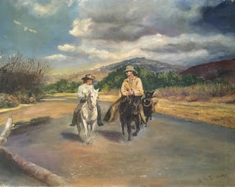 "Western Art Cowgirl and Cowboy Painting / Original Art Signed by ""H. Bishop"""