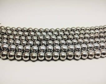 Hematite Silver Hematite Gemstone Beads Silver Mala Beads Hematite Beads Beads for Jewelry Silver Hematite Beads Jewelry Supplies Mala Beads