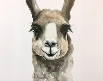 Brown Llama Watercolor PRINT