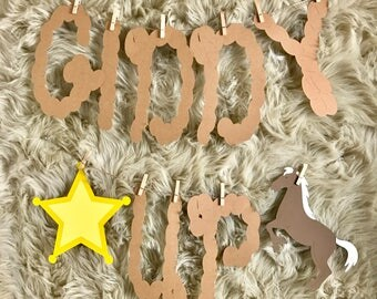Giddy Up Birthday Party Banner, Cowboy Themed Party, Cowboy Birthday Banner, Cowboy