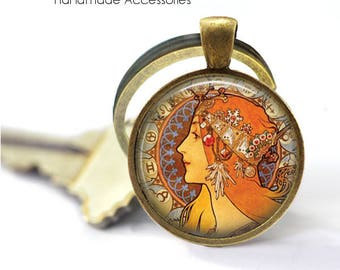 "ALPHONSE MUCHA Key Ring • Mucha Art • ""Soap factory of Bagnolet"" • Art Deco • Mucha Jewellery • Gift Under 20 • Made in Australia (K508)"