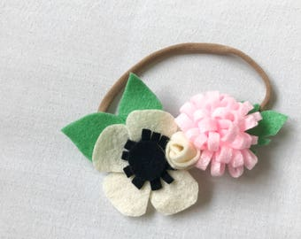 Newborn Baby Felt Flower Headband