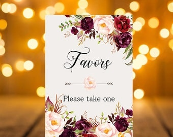 Favors Wedding Sign Digital Floral Marsala Burgundy Peonies Wedding Boho Printable Bridal Decor Gifts Poster Sign 5x7 and 8x10 - WS-024