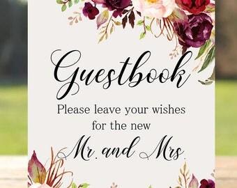 Guestbook Wedding Sign Digital Floral Marsala Burgundy Peonies Wedding Boho Printable Bridal Decor Gifts Poster Sign 5x7 and 8x10 - WS-024