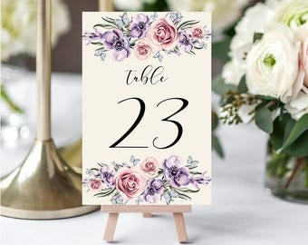 Wedding Table Numbers,Printable Table Numbers,Purple Lilac Pink Table Numbers,Table Numbers Wedding,21-30,4x6,PDF Instant Download TN-033