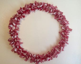 "28"" Red and white checked rag wreath"