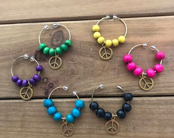 Peace Sign Wine Markers