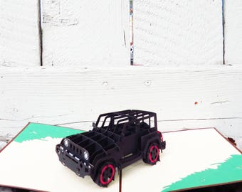 Jeep 3D Pop Up Card, 3D Card, Pop Up Card, Pop Card, PopCardExpress, Pop Card Express, Father's Day Card, birthday jeep card, pop up card