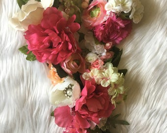 Floral and Rhinestone Letter