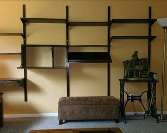 Mid Century Modern Walnut modular shelving / wall unit