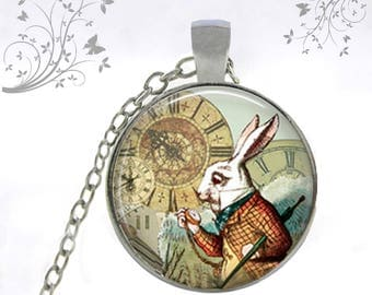 Alice rabbit, blue collar necklace, Locket made by hand
