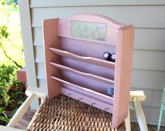 Essential Oil Holder - Nail Polish Rack - Blush Pink Painted Repurposed Letter Organizer - Lid Labels of Choice Included