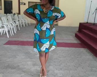Knee length African print Kaftan dress