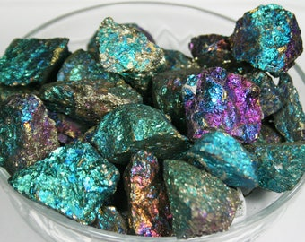 Chalcopyrite, Peacock Ore, Bornite, Flashy Natural Mineral Specimen, Iridescent Collector Stone, TWO Small Chalcopyrite Mineral Specimens