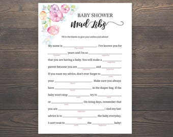 Baby Shower Mad Libs, Baby Shower Games, Pink Baby Shower, Baby Madlibs, Printable, Baby Shower Advice Cards, Girl Baby Shower, S015