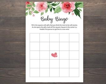 Baby Shower Bingo Game, Baby Shower Games, Baby Bingo, Printable Baby Shower, Bingo Cards, Floral Baby Shower Bingo, Bingo Game Cards, S017