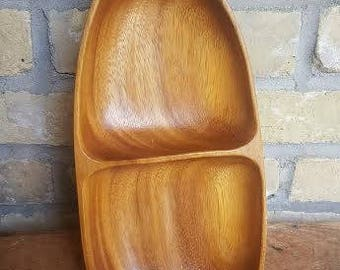 Royal Acacia Genuine Monkey Pod Wood Handcrafted in the Philippines Two sectional Tray