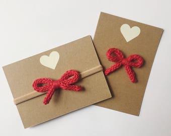 Red hair bow - hand knit baby bow - nylon headband or alligator clip