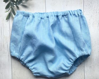 Baby blue Linen bloomers / diaper cover / nappy cover / traditional kids clothing