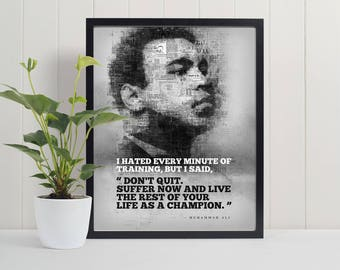 Mohammad Ali Quote - Motivational Wall Art, Motivational Wall Decor, Printable, Wall Art Print,  Famous posters, Digital Download PDF File