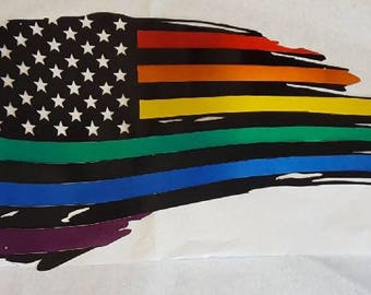 American Gay Pride Brushed Aluminum Flag  Hand Painted